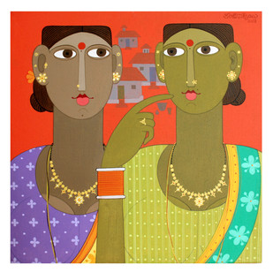 Sisters by Kandi Narsimlu, Expressionism Painting, Acrylic on Canvas, Brown color