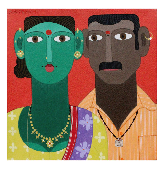 Couple -4 by Kandi Narsimlu, Expressionism Painting, Acrylic on Canvas, Brown color