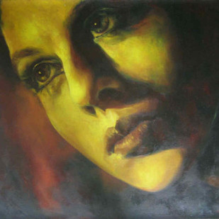 Introspective Moments by Priyanka Lahiri, Expressionism Painting, Oil on Canvas, Green color
