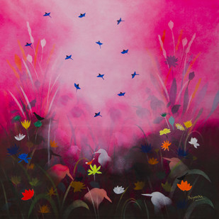 Stories from the month of March by Priyanka Waghela, Expressionism Painting, Acrylic on Canvas, Pink color