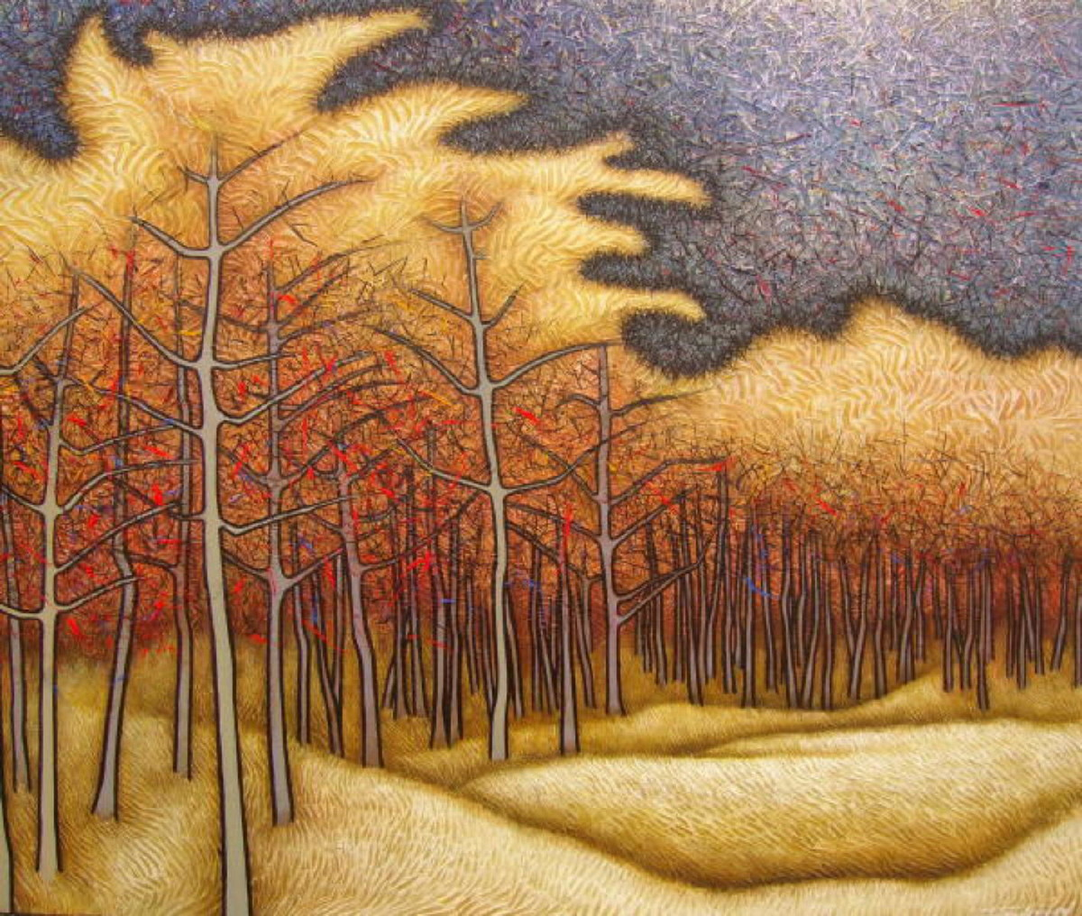 Golden Splendour at Dusk by Sibsaday Chaudhury, Expressionism Painting, Acrylic on Canvas, Brown color