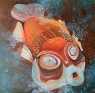 Fish by Sekhar Basu, Expressionism Painting, Tempera on Canvas Board, Brown color