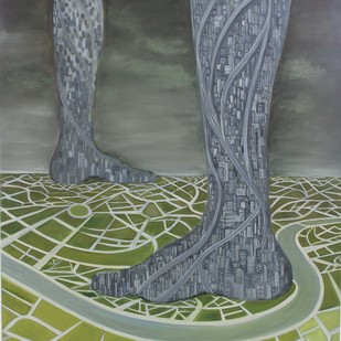 journey by khushboo, Expressionism Painting, Oil on Canvas, Gray color