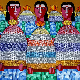 Flower festival by Naheem Rustum, Decorative Painting, Acrylic on Canvas, Brown color