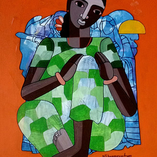 Mahuva by Naheem Rustum, Expressionism Painting, Acrylic on Canvas, Orange color