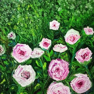 Rose Garden by Konika Banerjee, Expressionism Painting, Oil on Canvas, Green color