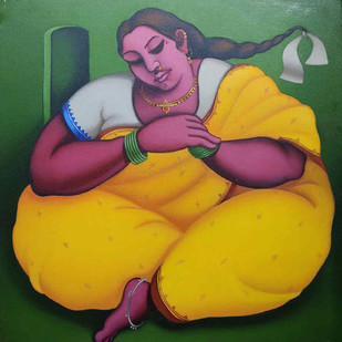 Moments of Leisure by Subrata Saha, Expressionism Painting, Oil on Canvas, Green color