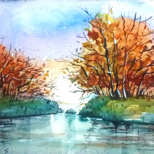 Waterside by Tapon Roy, Impressionism Painting, Watercolor on Paper, Cyan color