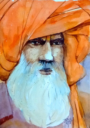 Baba by Tapon Roy, Expressionism Painting, Watercolor on Paper, Brown color