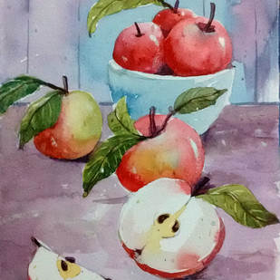 Apples by Tapon Roy, Impressionism Painting, Watercolor on Paper, Brown color