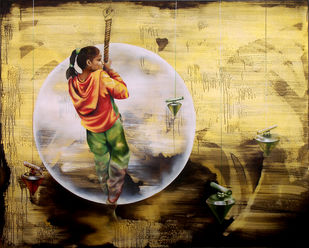 The Visual Saga by Renuka Sondhi Gulati, Expressionism Painting, Oil & Acrylic on Canvas, Beige color