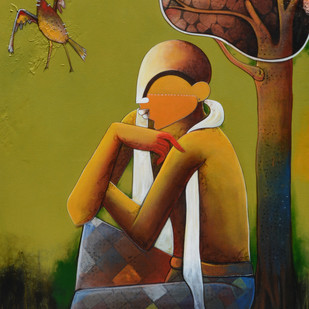 thinker 4 by anupam pal, Decorative Painting, Mixed Media on Canvas, Green color