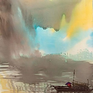 Nor' westerly by RAJENDRA MALAKAR, Impressionism Painting, Watercolor on Paper, Beige color