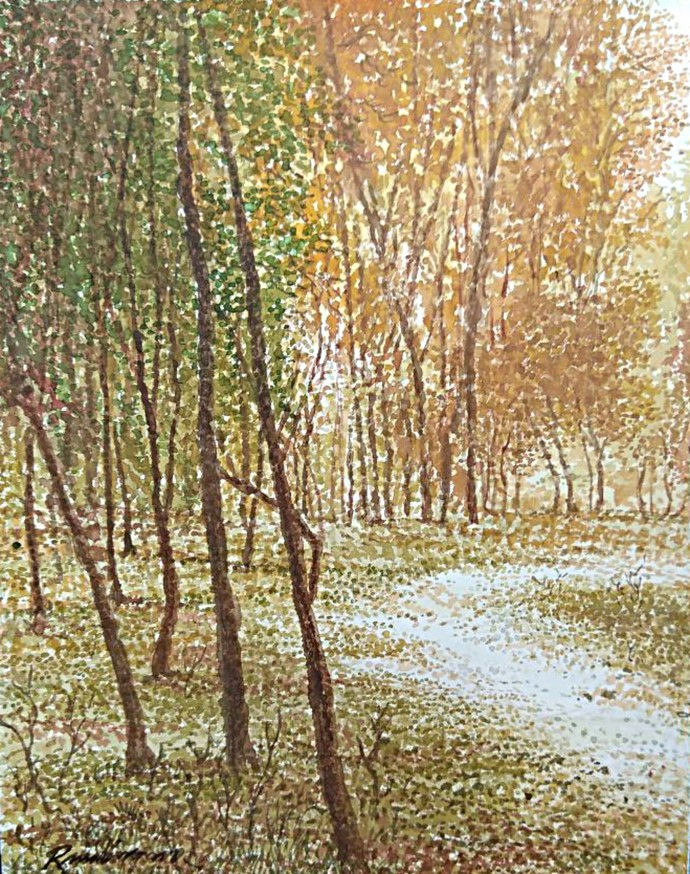 Vivaladi Spring by RAJENDRA MALAKAR, Impressionism Painting, Watercolor on Paper, Beige color