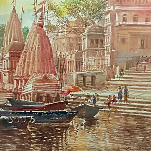 Monikornika (Varanasi) by RAJENDRA MALAKAR, Expressionism Painting, Watercolor on Paper, Brown color