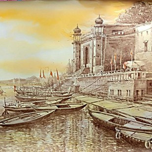 An evening in Varanasi by RAJENDRA MALAKAR, Expressionism Painting, Watercolor on Paper, Beige color