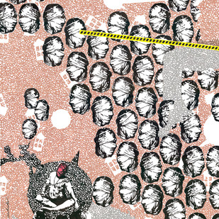 Politicians at Work by Binay Sinha, Illustration Painting, Acrylic on Paper, Gray color