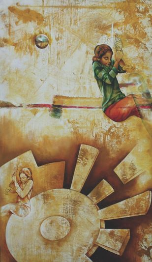 Save Me Save The world by Renuka Sondhi Gulati, Expressionism Painting, Oil & Acrylic on Canvas, Beige color