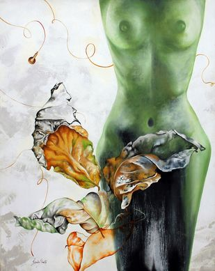 Eternal Leaf by Renuka Sondhi Gulati, Expressionism Painting, Oil & Acrylic on Canvas, Gray color