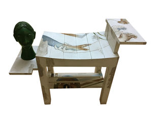 Designer Stool and Sculpture Head by Renuka Sondhi Gulati, Art Deco Sculpture | 3D, Oil and Acrylic on Wood , White color