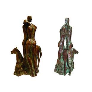Compassion by Renuka Sondhi Gulati, Art Deco Sculpture | 3D, Bronze, White color
