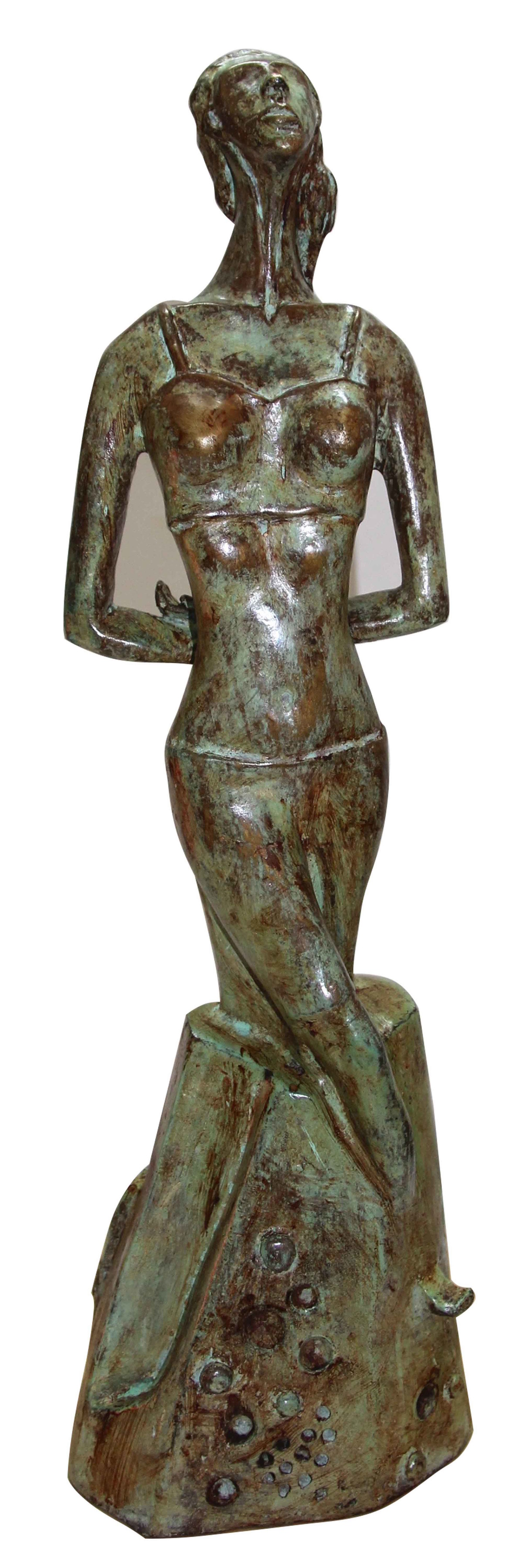 The New Journey(Single Woman) by Renuka Sondhi Gulati, Art Deco Sculpture | 3D, Bronze,