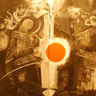 """Shiva shakthi"" by vennimalai, Expressionism Painting, Acrylic on Canvas, Brown color"
