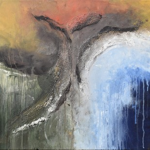 The Source by Shubhangi Singh, Abstract Painting, Acrylic on Canvas, Gray color