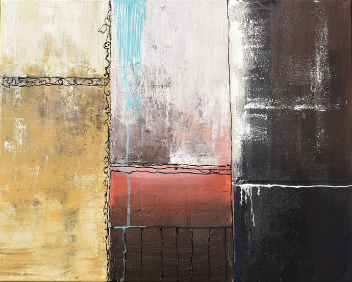 Dreaming Through My Window by Shubhangi Singh, Abstract Painting, Acrylic on Canvas, Gray color