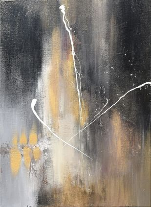 In the Shadows by Shubhangi Singh, Abstract Painting, Acrylic on Canvas, Gray color