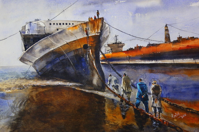 Destroyed Ship by Krishnendu Chatterjee, Impressionism Painting, Watercolor on Paper, Brown color