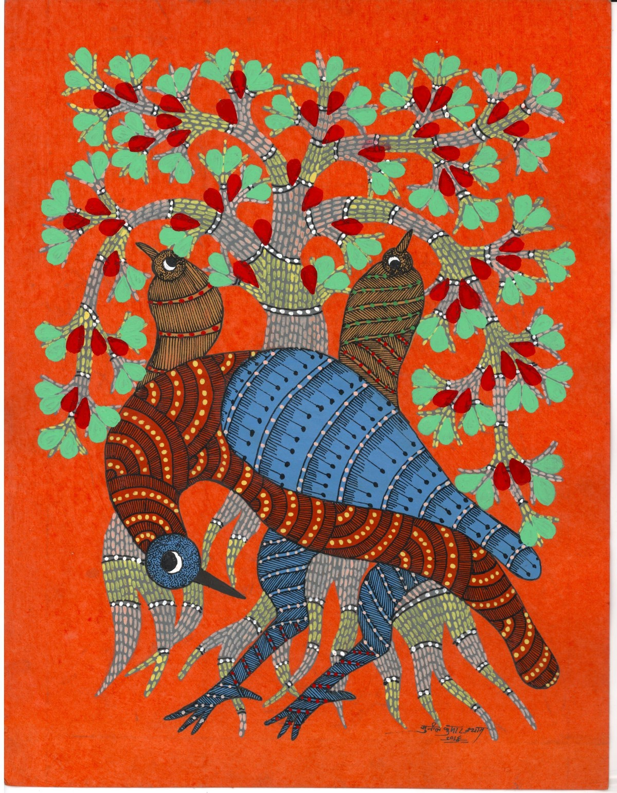 Dancing Queen by Sunil Shyam , Tribal Drawing, Acrylic & Ink on Paper, Brown color