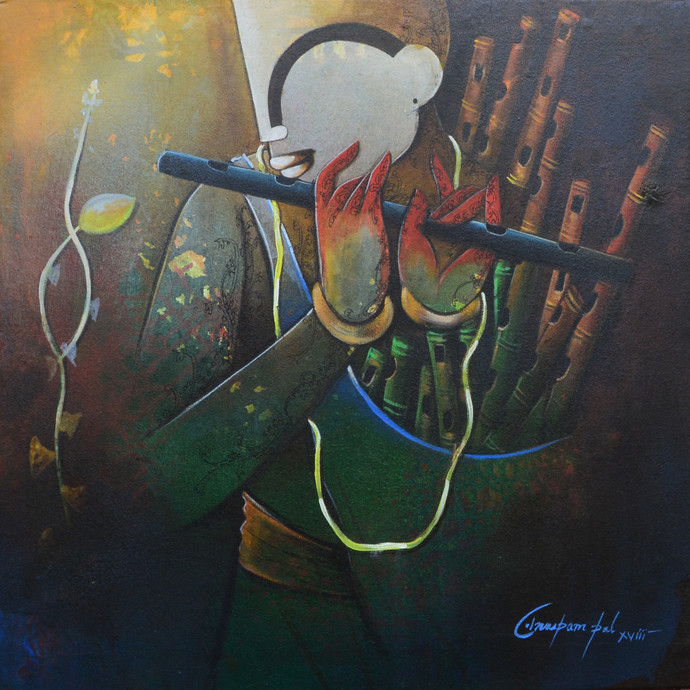 flute seller Digital Print by anupam pal,Decorative