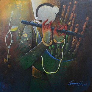 flute seller by anupam pal, Decorative Painting, Acrylic on Canvas, Gray color