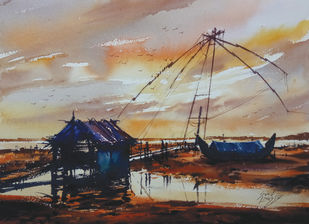 sunset by Sunil Linus De, Impressionism Painting, Watercolor on Paper, Brown color