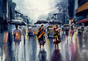 rainy day by Sunil Linus De, Impressionism Painting, Watercolor on Paper, Blue color