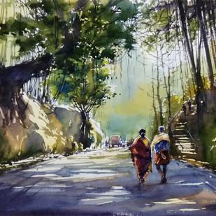 couples by Sunil Linus De, Impressionism Painting, Watercolor on Paper, Green color