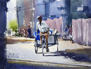 Untitled by Sunil Linus De, Impressionism Painting, Watercolor on Paper, Blue color