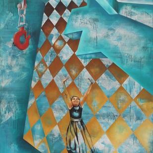 Blissful Trust by Renuka Sondhi Gulati, Expressionism Printmaking, Digital Print on Archival Paper, Cyan color