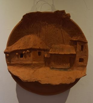 Surrounding Walls X by Ajaysingh Bhadoriya, Art Deco Sculpture | 3D, Terracotta, Brown color
