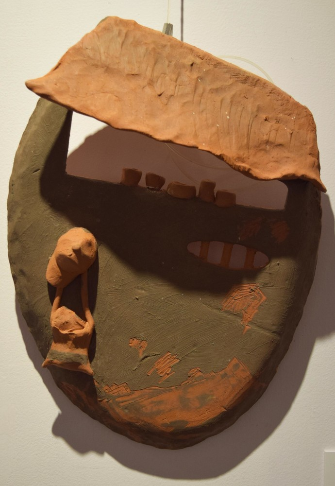 Surrounding Walls IX by Ajaysingh Bhadoriya, Art Deco Sculpture | 3D, Terracotta, Brown color