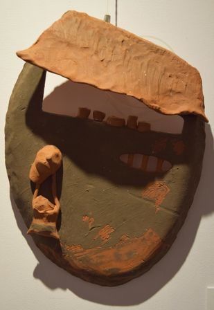 Surrounding Walls IX by Ajaysingh Bhadoriya, Art Deco Sculpture | 3D, Terracotta, Brown color