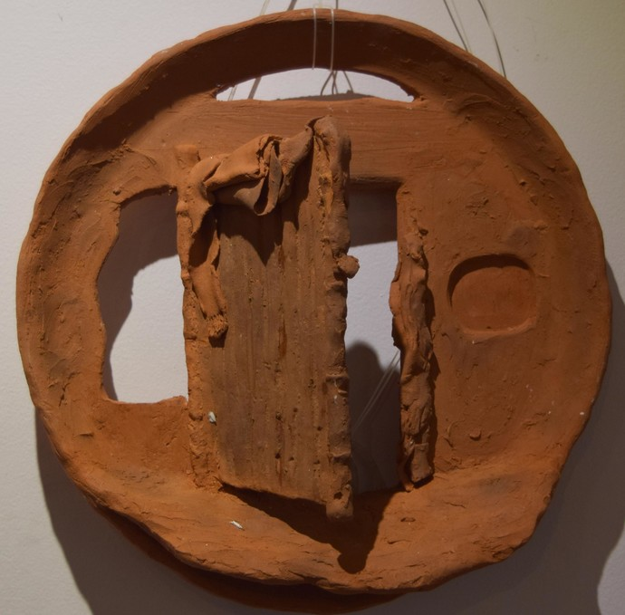 Surrounding Walls II by Ajaysingh Bhadoriya, Art Deco Sculpture | 3D, Terracotta, Brown color