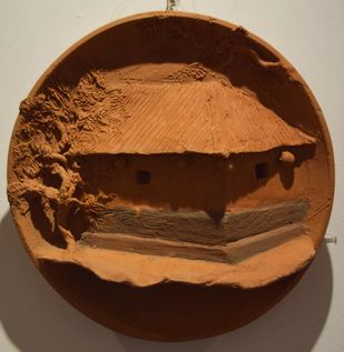 Surrounding Walls II by Ajaysingh Bhadoriya, Art Deco Sculpture | 3D, Terracotta, Brown color