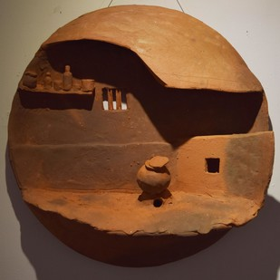 Surrounding Walls I by Ajaysingh Bhadoriya, Art Deco Sculpture | 3D, Terracotta, Brown color