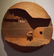 Surrounding Walls I by Ajaysingh Bhadoriya, Art Deco Sculpture | 3D, Terracotta, Brown color