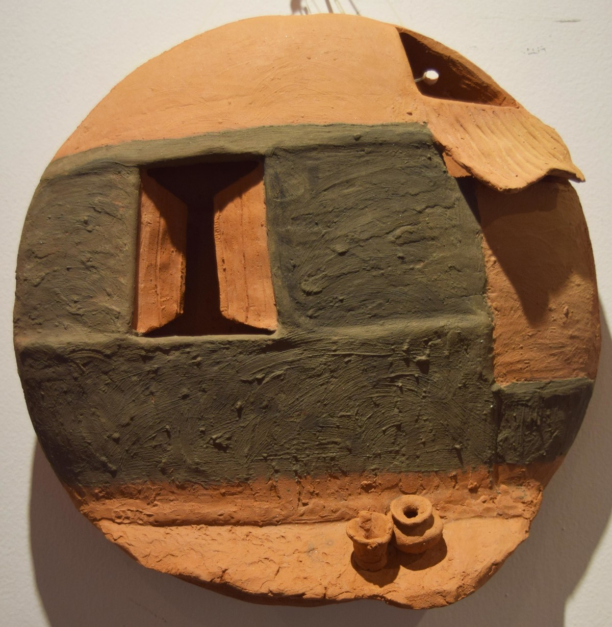 Surrounding Walls III by Ajaysingh Bhadoriya, Art Deco Sculpture | 3D, Terracotta, Brown color