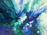 Blue Magic by Broti Ganguly, Abstract Painting, Acrylic on Canvas, Cyan color
