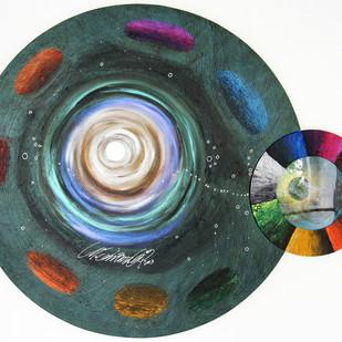 research moon vibgyor aaraas-000 by vennimalai, Geometrical Painting, Acrylic on Canvas, Green color