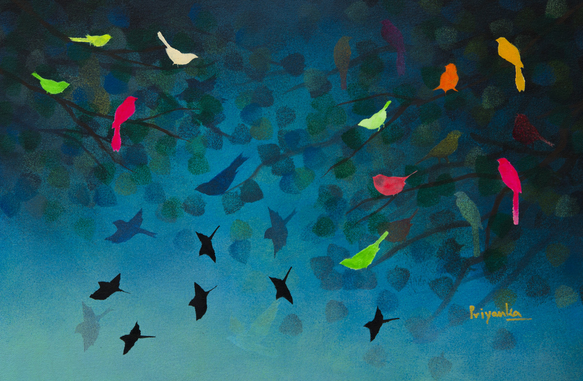 Music from blue sky by Priyanka Waghela, Fantasy Painting, Acrylic on Canvas, Blue color